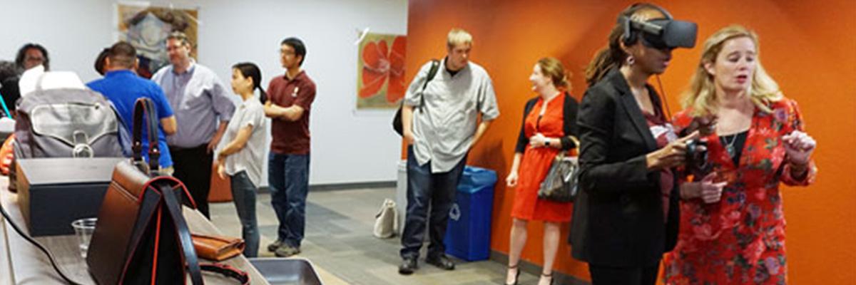 People standing VR demo at ASU.